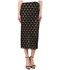 Yigal Azrouel Circle Lace Midi Skirt Black