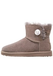 Ugg Mini Bailey Button Bling Serein Boots Stormy Grey Light Grey