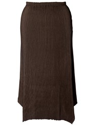 Chesca Double Pleated Skirt Brown