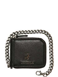 Jimmy Choo Scorpion Soft Leather Chain Wallet Black