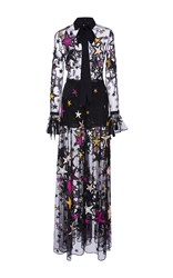 Elie Saab Flared Jumpsuit With Embroidered Multicolor Stars Black White Pink
