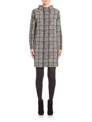 Akris Punto Long Sleeve Jersey Jacquard Funnelneck Dress Black Cream