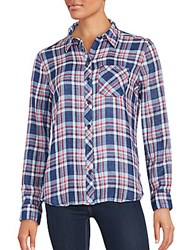 Beach Lunch Lounge Plaid Cotton Shirt Cobalt Pink