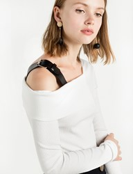 Pixie Market Asymmetric Ots Belted Strap Top