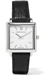 Larsson And Jennings Norse Leather And Silver Plated Watch Silver Black