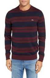Lacoste Men's Jersey Stripe Crewneck Sweater Vendange Navy Blue