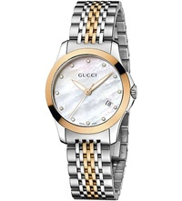 Gucci Ya126514 G Timeless Collection Bi Colour Pink Gold Pvd Watch Mother Of Pearl
