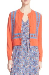 Women's Tory Burch 'Scarlet' Crochet Lace Detail Cardigan