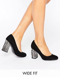 New Look Wide Fit Marble Court Heeled Shoe Black