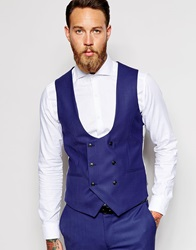 Noose And Monkey Double Breasted Waistcoat In Skinny Fit Deepblue