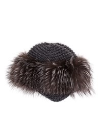Inverni Cashmere And Fox Fur Fitted Hat White