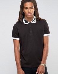 Love Moschino Printed Collar Polo Shirt Black