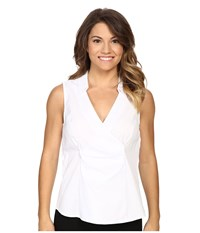 Nydj Petite Sleeveless Stretch Cotton Poplin Wrap Blouse Optic White Women's Blouse