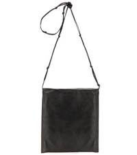 The Row Medicine Pouch Large Leather Crossbody Bag Black