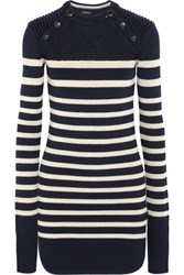 Isabel Marant Haeza Striped Merino Wool Blend Mini Sweater Dress Navy