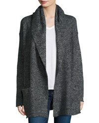 Vince Hooded Ribbed Knit Cardigan Ash