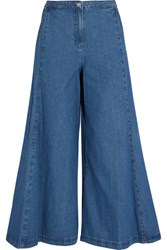 Steve J And Yoni P Cropped High Rise Wide Leg Jeans Mid Denim