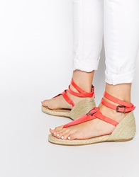 Supertrash Red Grace Espadrille Toe Post Sandals Fireycoral