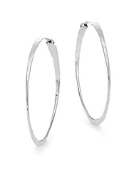 Saks Fifth Avenue Sterling Silver Hammered Hoop Earrings 1.5