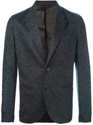 Lanvin Contrast Panel Button Blazer Grey