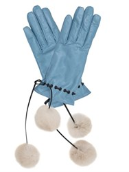 Mario Portolano Leather Gloves W Fur Pompoms