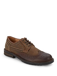 Saks Fifth Avenue Gray Suede And Leather Wingtip Oxfords Brown