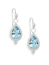 Jude Frances Aquamarine Diamond And 18K White Gold Teardrop Earrings White Gold Blue