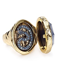 Alexis Bittar Elements Hand Carved Raven Cameo Cocktail Ring Gold