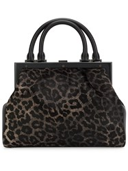 Perrin Paris Animal Print Tote Bag Black