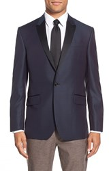 Men's Big And Tall Ted Baker London 'Jules' Trim Fit Wool Dinner Jacket Blue