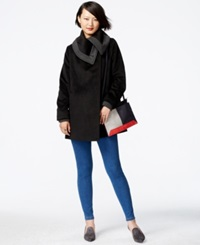 Rachel Rachel Roy Foldover Collar Knit Trim Coat Black