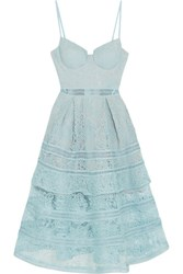 Self Portrait Tiered Paneled Guipure Lace Dress Sky Blue