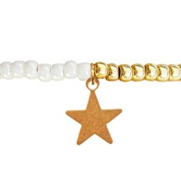 Lucci Charmers Star Charm Bracelet Pearl White
