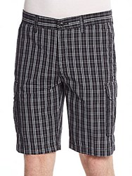Saks Fifth Avenue Plaid Cotton Cargo Shorts Black