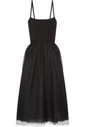 Red Valentino Redvalentino Stretch Knit And Point D'esprit Tulle Midi Dress Black