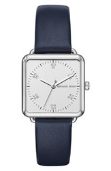 Michael Michael Kors Women's 'Brenner' Square Leather Strap Watch 31Mm