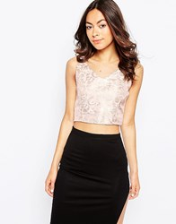 Glamorous Crop Top In Metallic Jacquard Gold