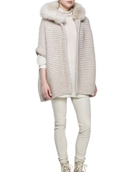 Brunello Cucinelli Fox Fur Trimmed Hooded Cashmere Poncho