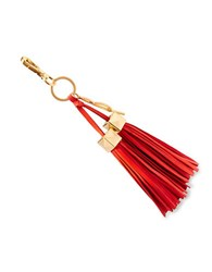 Brian Atwood Apaige Leather Tassel Key Fob Coral