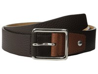Cole Haan 35Mm Flat Stitch Strap Pebble Leather Pop Color Tab Java Black Men's Belts