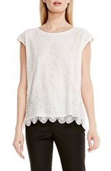 Vince Camuto Petite Women's Cap Sleeve Embroidered Lace Blouse Light Cream