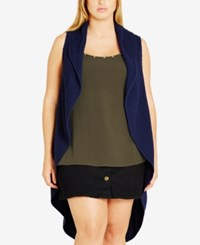 City Chic Trendy Plus Size High Low Duster Vest French Navy