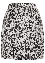 Mcq By Alexander Mcqueen Graphic Print Satin Mini Skirt Black And White