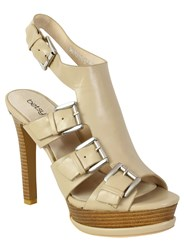 Betsy Buckle Peep Toe High Heel Beige