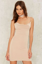 On The Cowl Sleeveless Mini Dress Beige