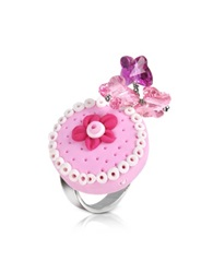 Dolci Gioie Sterling Silver Cake Charm Ring Pink