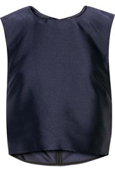 Adam By Adam Lippes Cropped Satin Top Blue