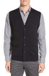 John W. Nordstromr Men's Big And Tall Nordstrom V Neck Wool Button Front Sweater Vest Black Rock