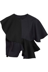 Jacquemus Asymmetric Ruffled Bonded Wool And Cotton Blend Top Navy