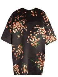 Rochas Daisy Print Duchess Satin Oversized Mini Dress Black Multi